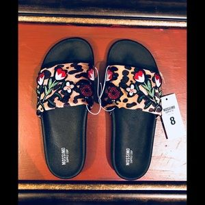 Leopard and Flowers 🌺 Slide On Flat Sandals
